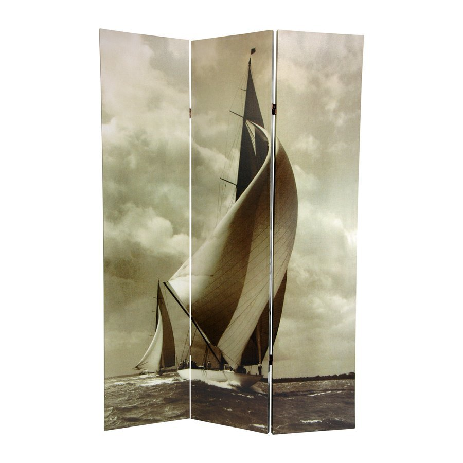 Oriental Furniture Sailboat 3-Panel Gray Wood and Fabric Folding Indoor Privacy Screen