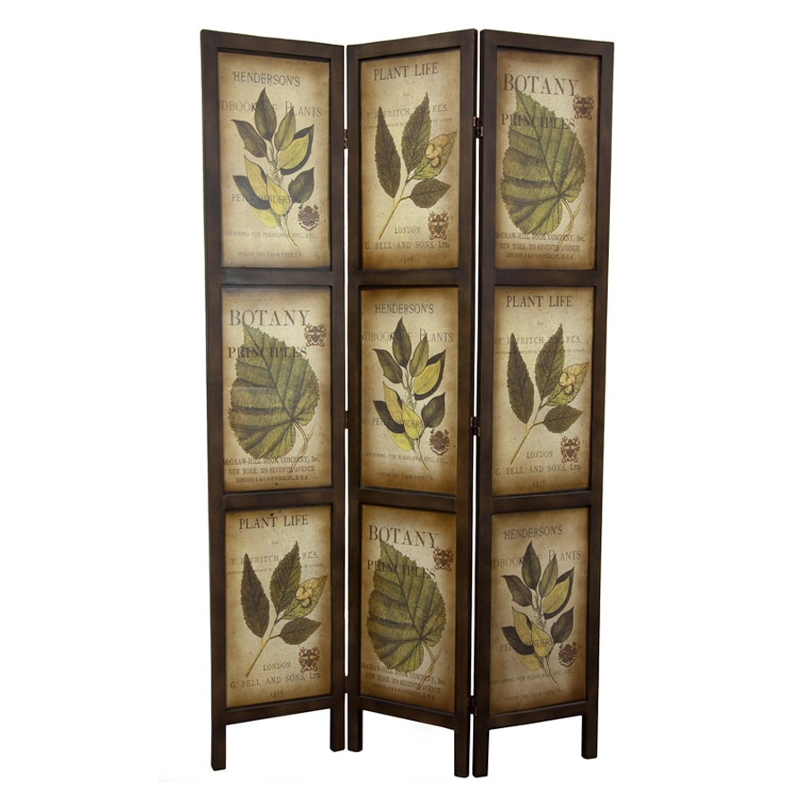 Oriental Furniture Botany 3-Panel Mocha Wood Folding Indoor Privacy Screen