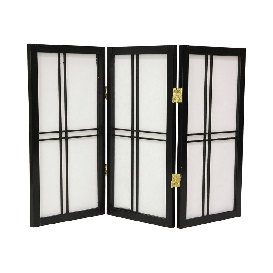 Oriental Furniture Double Cross 4-Panel Black Wood and Paper Folding Indoor Privacy Screen