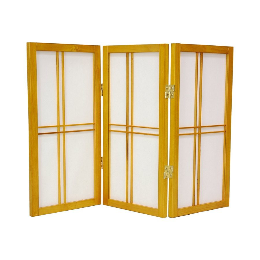Oriental Furniture Double Cross 5-Panel Honey Wood and Paper Folding Indoor Privacy Screen