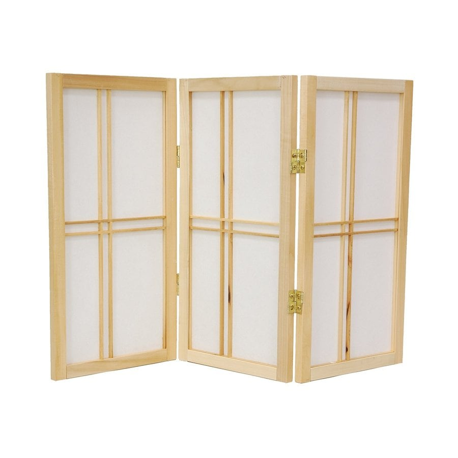 Oriental Furniture Double Cross 3-Panel Natural Wood and Paper Folding Indoor Privacy Screen