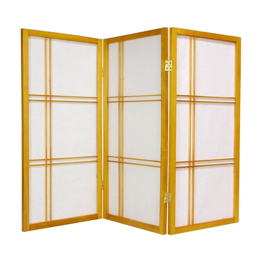 Oriental Furniture Double Cross 3-Panel Honey Wood and Paper Folding Indoor Privacy Screen