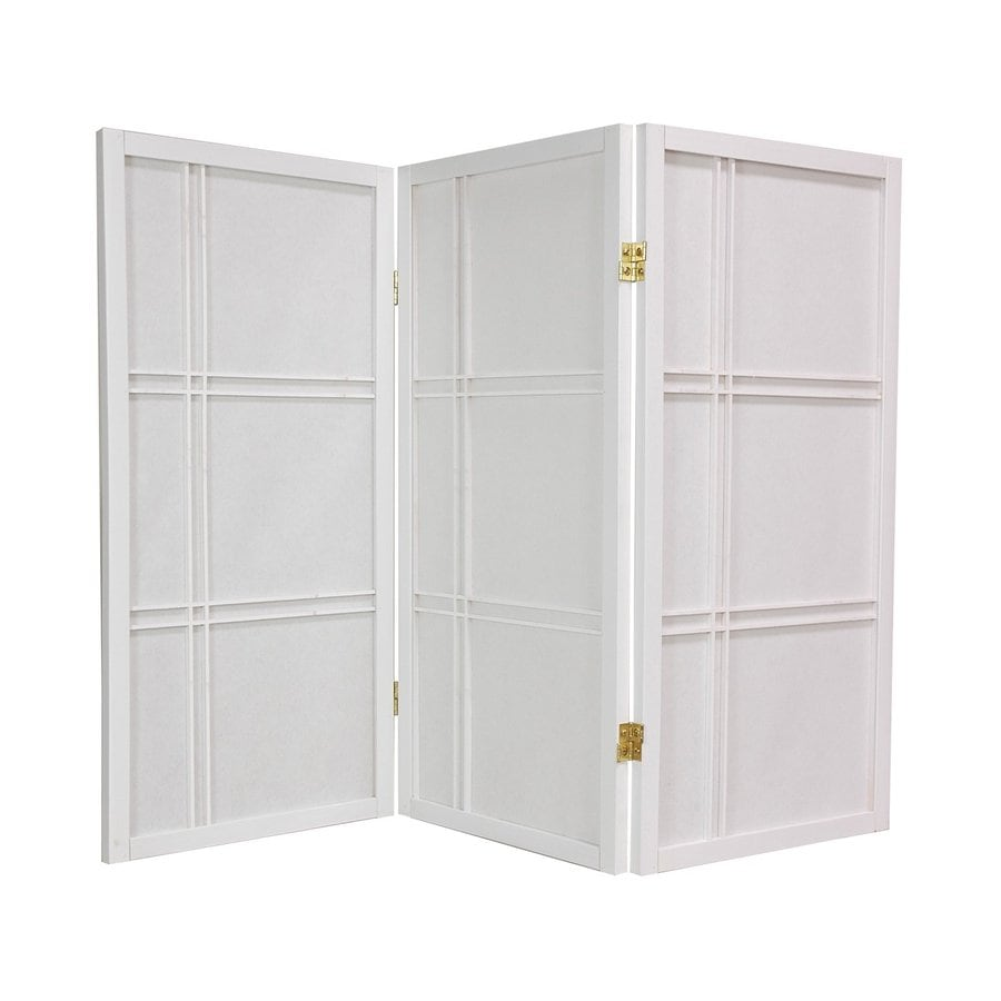Oriental Furniture Double Cross 4-Panel White Wood and Paper Folding Indoor Privacy Screen