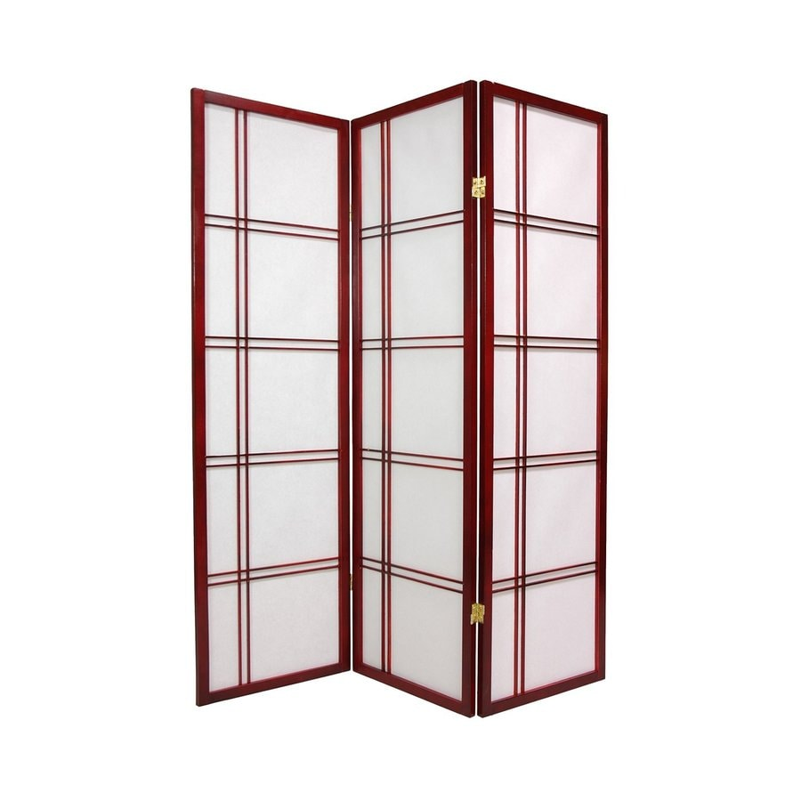 Oriental Furniture Double Cross 6-Panel Rosewood Wood and Paper Folding Indoor Privacy Screen