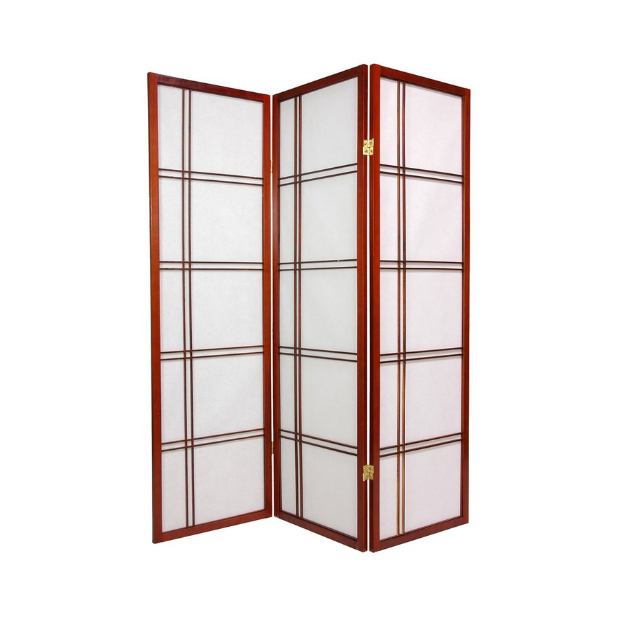 Oriental Furniture Double Cross 5-Panel Walnut Wood and Paper Folding Indoor Privacy Screen