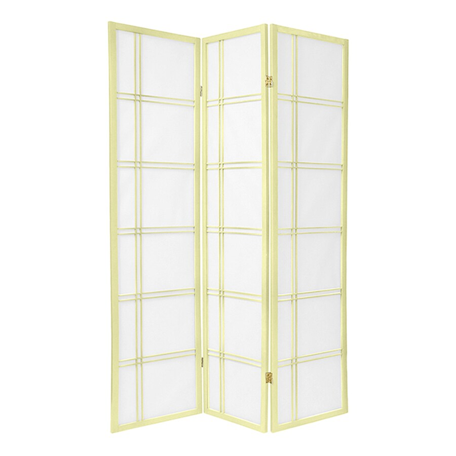 Oriental Furniture Double Cross 3-Panel Ivory Wood and Paper Folding Indoor Privacy Screen