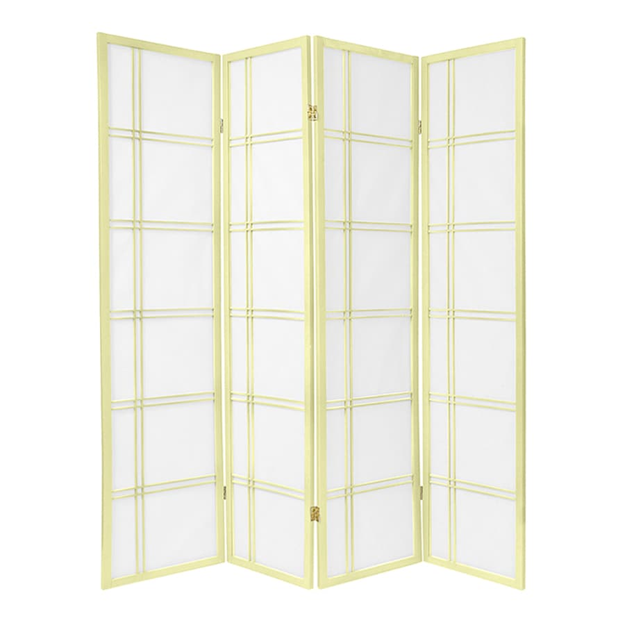 Oriental Furniture Double Cross 4-Panel Ivory Wood and Paper Folding Indoor Privacy Screen