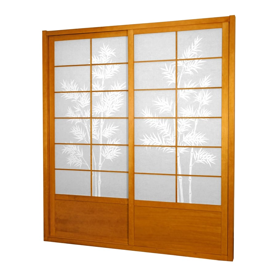 Oriental Furniture Bamboo Tree 2-Panel Honey Wood and Paper Indoor Privacy Screen