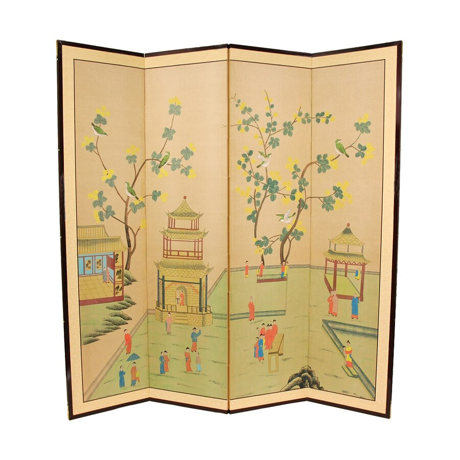 Oriental Furniture 4-Panel Beige Wood and Paper Folding Indoor Privacy Screen