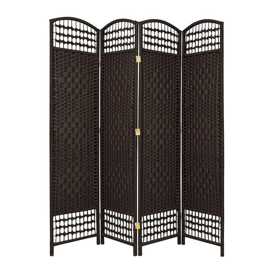 Shop oriental furniture fiber weave 4 panel black wood and for Wood privacy screen panels