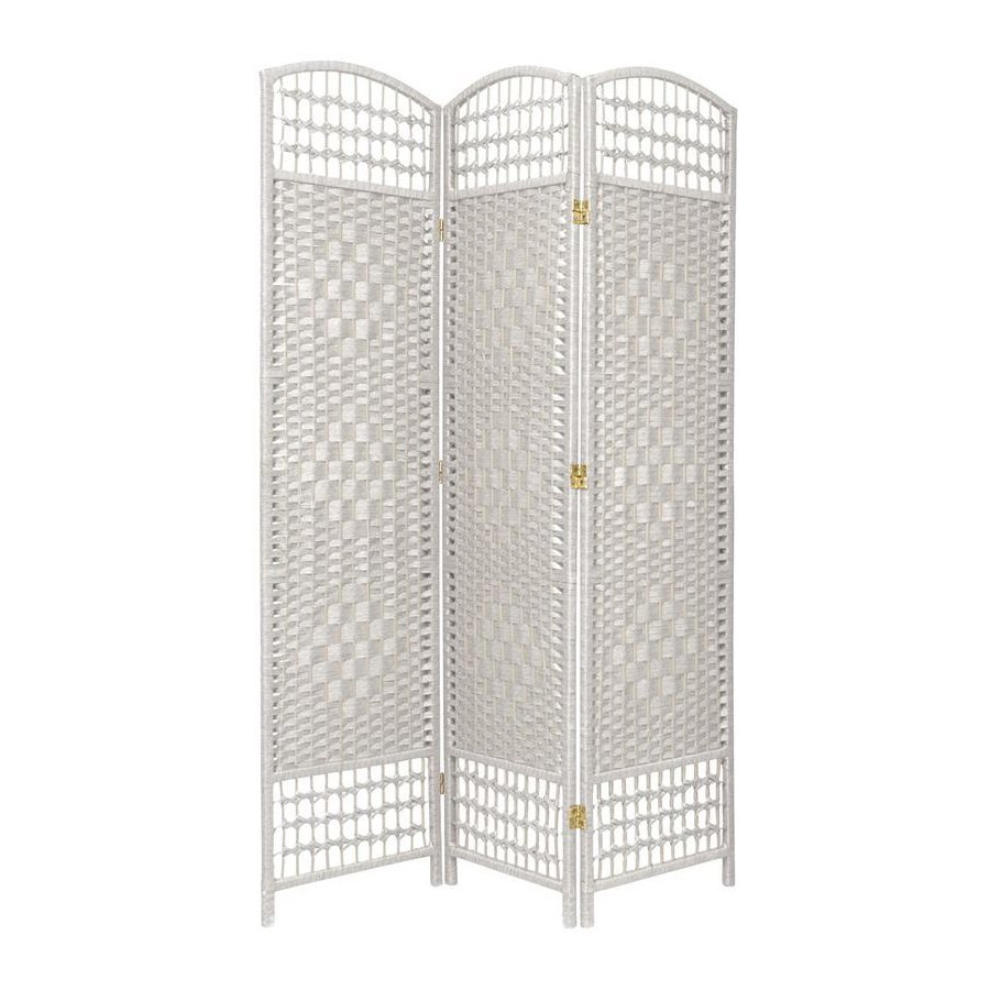 Shop Oriental Furniture 3 Panel White Wood And Rattan