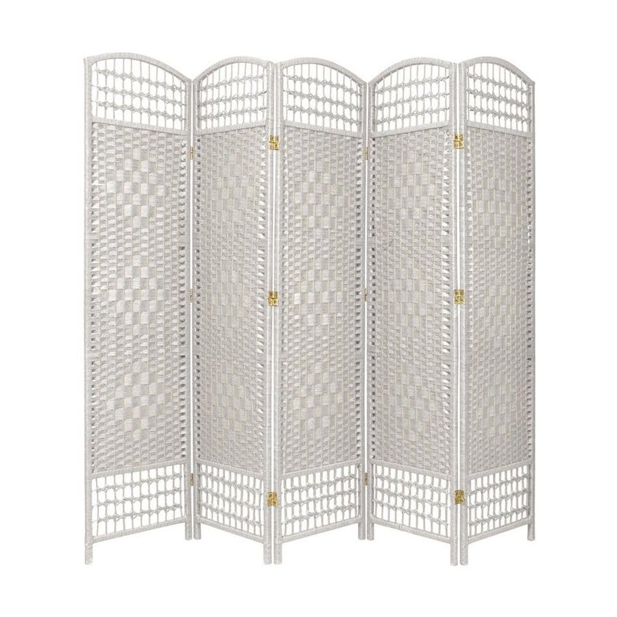 Shop oriental furniture 5 panel white wood and rattan for Wood privacy screen panels