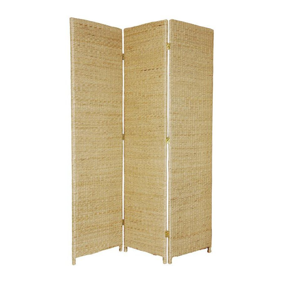 Oriental Furniture Rush Grass 3-Panel Natural Wood and Rattan Folding Indoor Privacy Screen