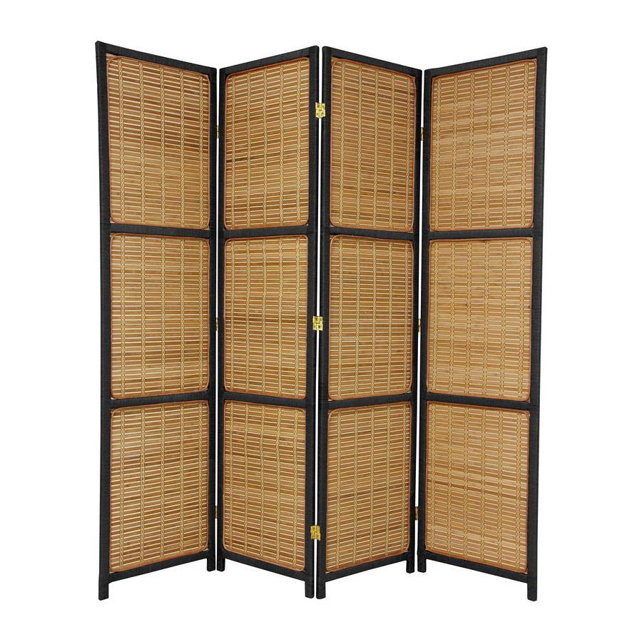 Oriental Furniture 4-Panel Black Wood Folding Indoor Privacy Screen