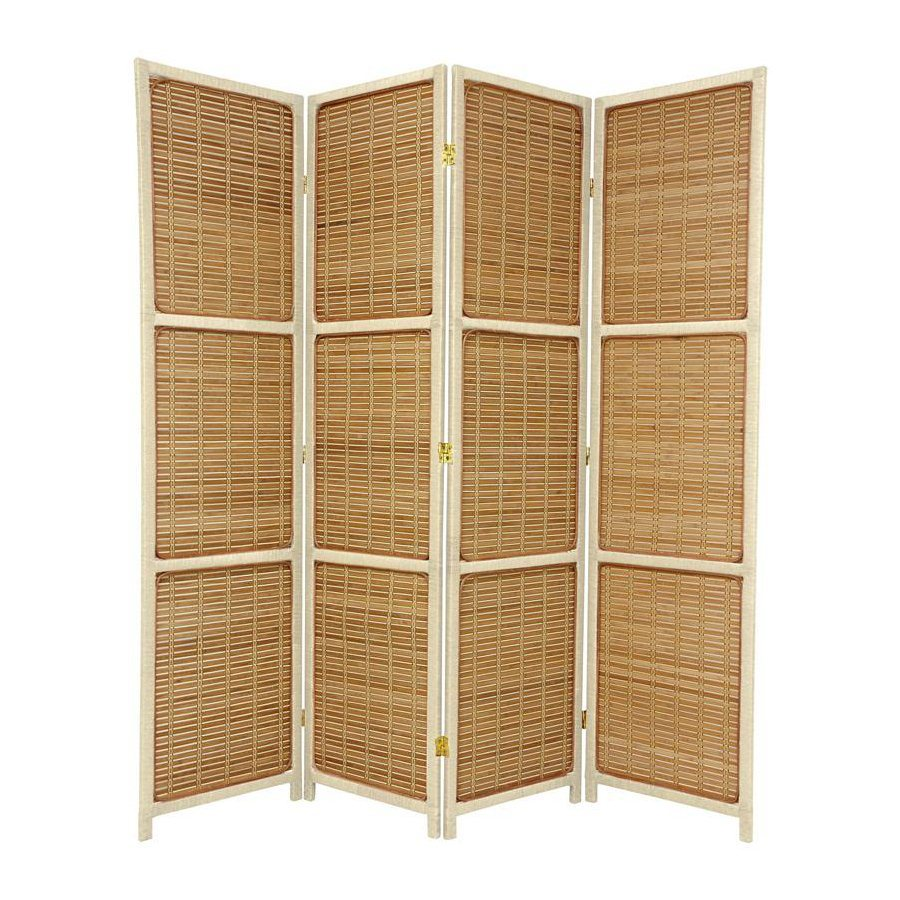 Oriental Furniture 4-Panel Cream Wood Folding Indoor Privacy Screen