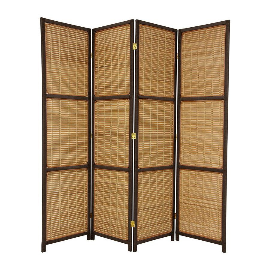 Oriental Furniture 4-Panel Red Brown Wood Folding Indoor Privacy Screen