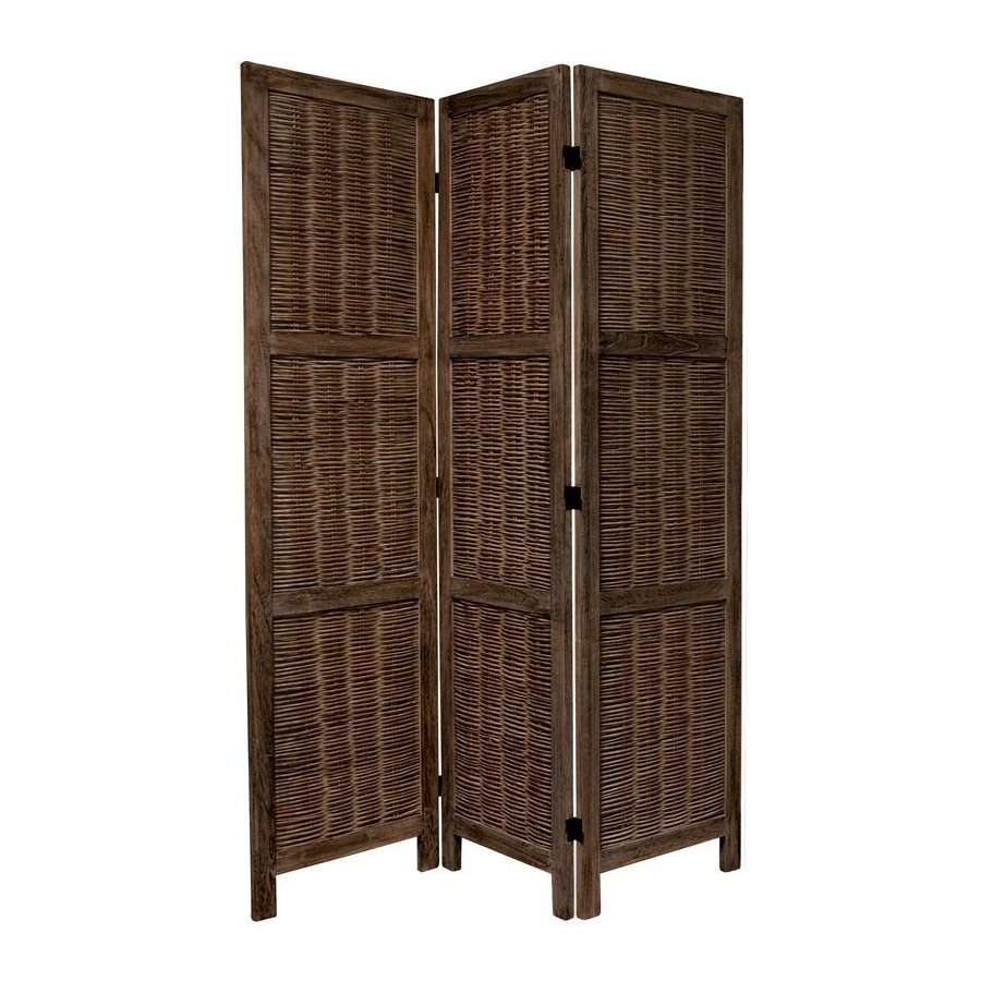 Oriental Furniture 3-Panel Burnt Brown Wood Folding Indoor Privacy Screen