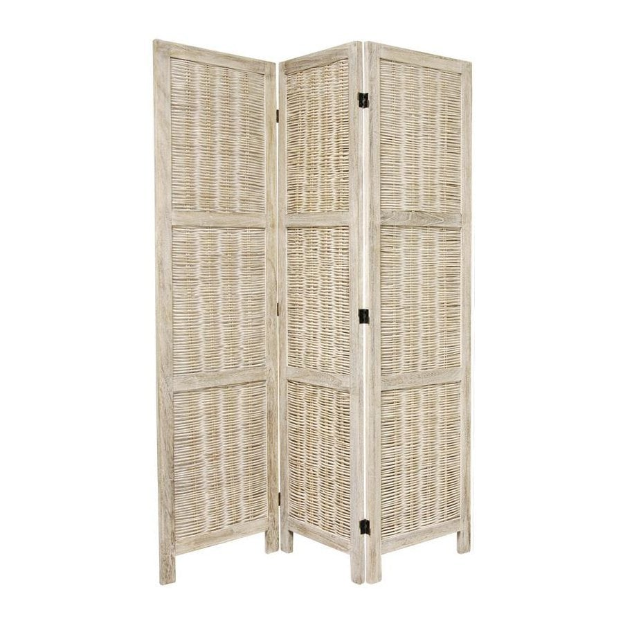 Oriental Furniture 3-Panel Burnt White Wood Folding Indoor Privacy Screen