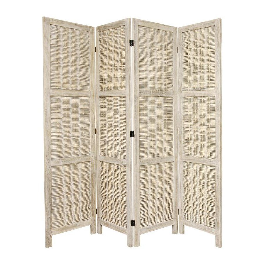 Oriental Furniture 4-Panel Burnt White Wood Folding Indoor Privacy Screen