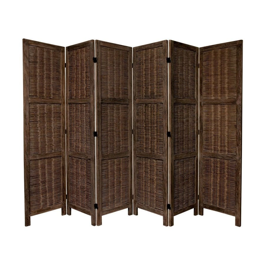 Shop oriental furniture 6 panel burnt brown wood folding for Wood privacy screen panels
