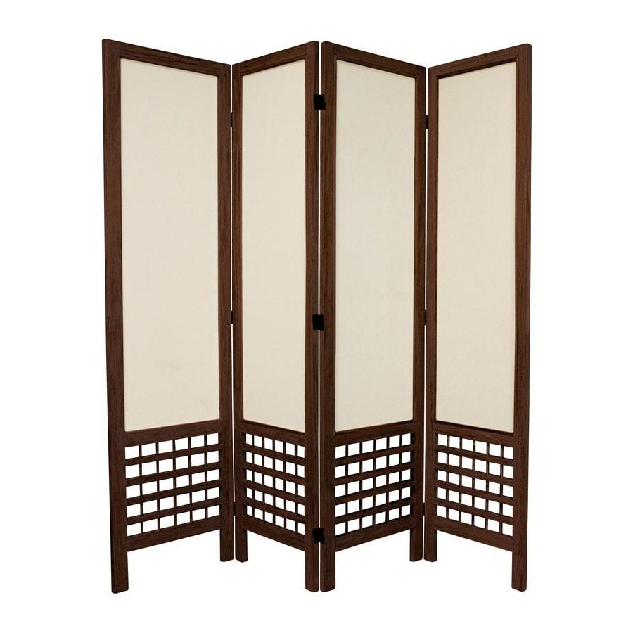 Oriental Furniture Open Latice 4-Panel Burnt Brown Wood and Fabric Folding Indoor Privacy Screen