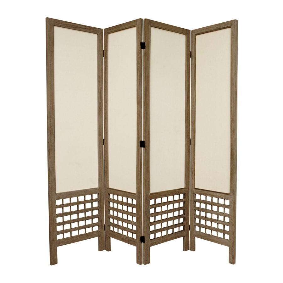 Oriental Furniture Open Latice 4-Panel Burnt Gray Wood and Fabric Folding Indoor Privacy Screen