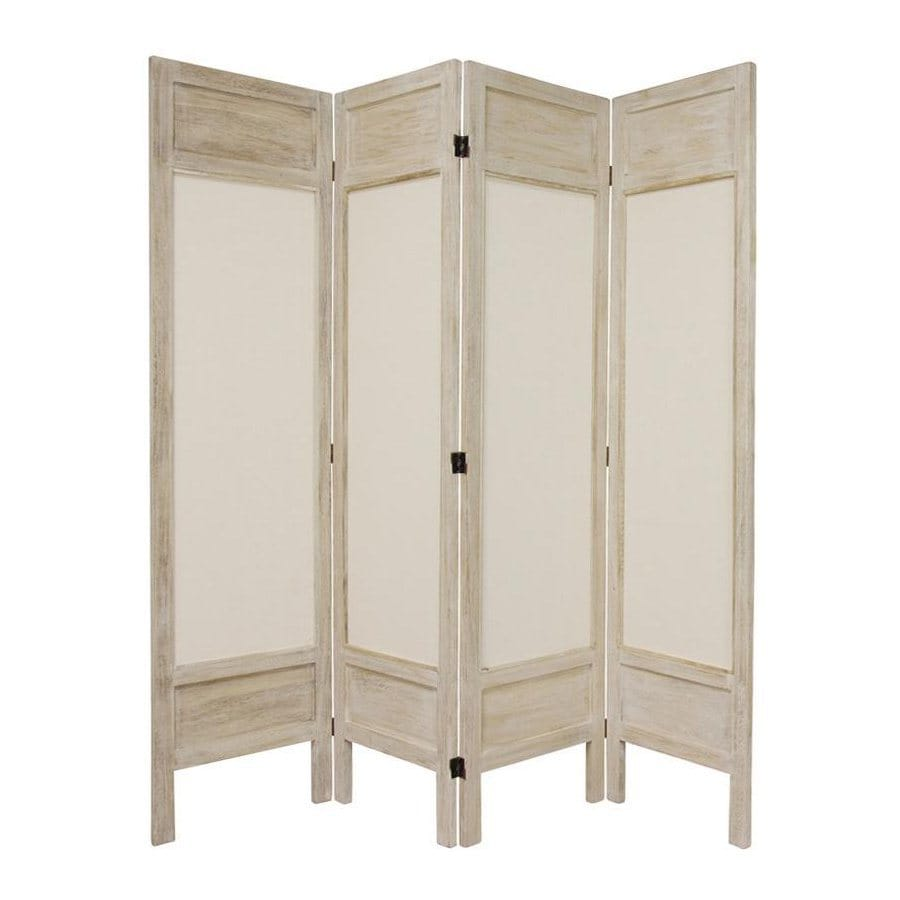 Shop oriental furniture 4 panel burnt white wood and for Wood privacy screen panels