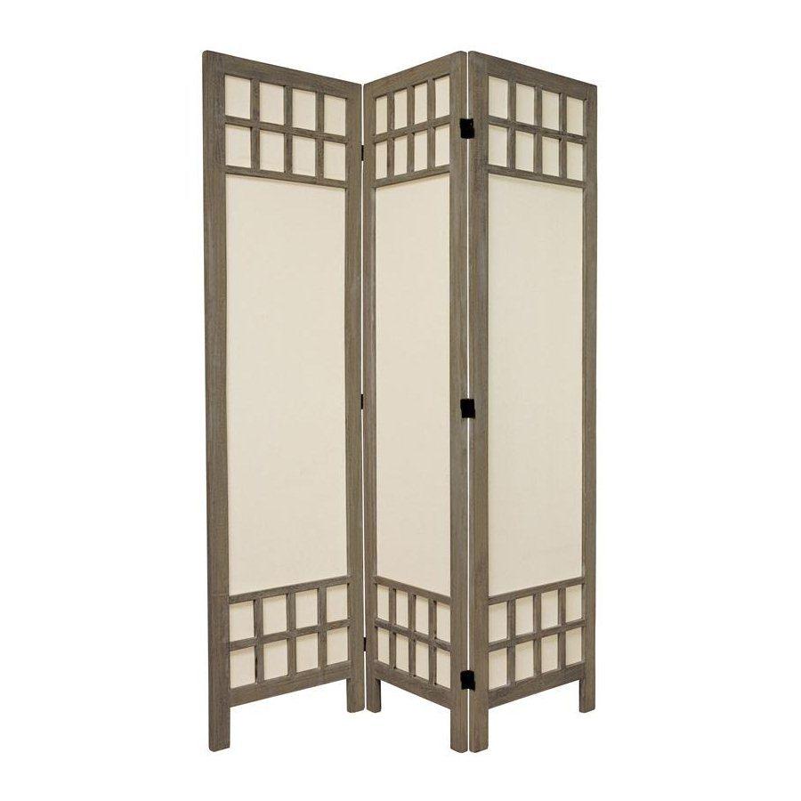 Oriental Furniture Window Pane 3-Panel Burnt Gray Wood and Fabric Folding Indoor Privacy Screen