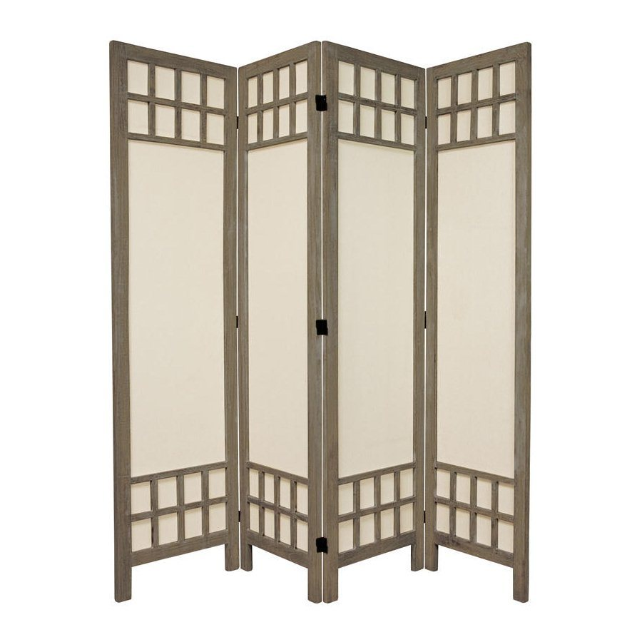 Shop oriental furniture window pane 4 panel burnt gray for Wood privacy screen panels