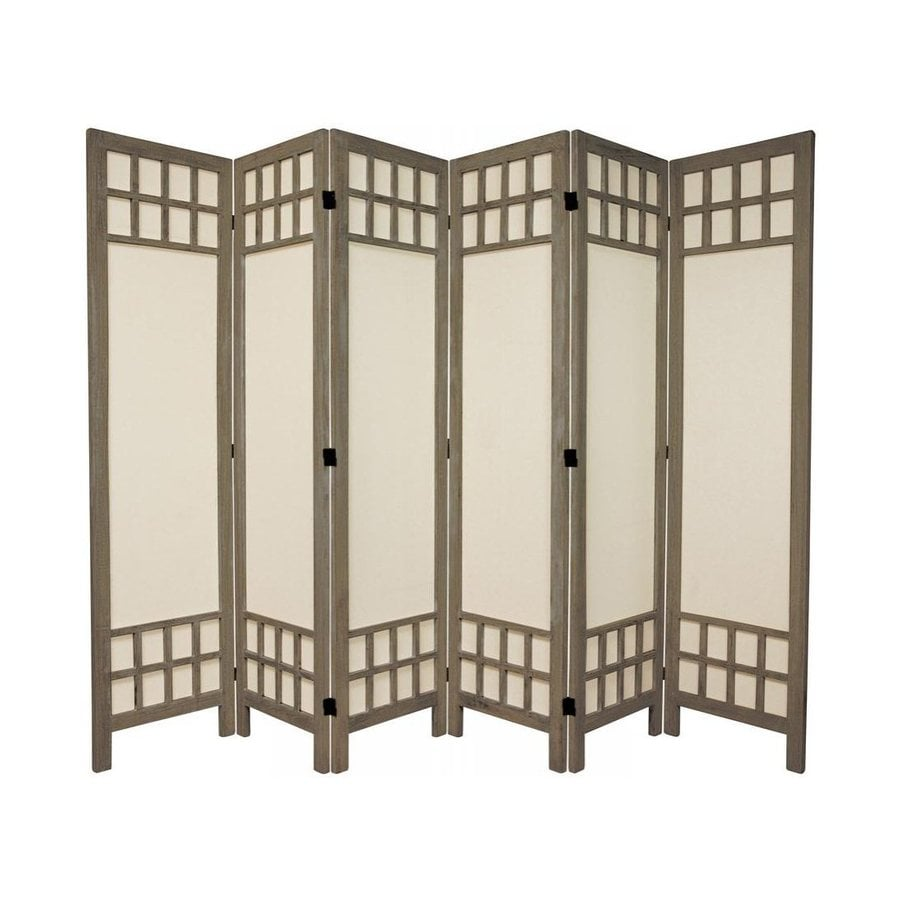 Oriental Furniture Window Pane 6-Panel Burnt Gray Wood and Fabric Folding Indoor Privacy Screen
