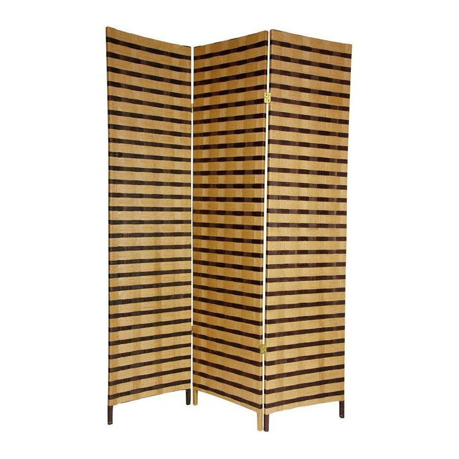 Oriental Furniture 3-Panel Multicolor Wood and Fabric Folding Indoor Privacy Screen