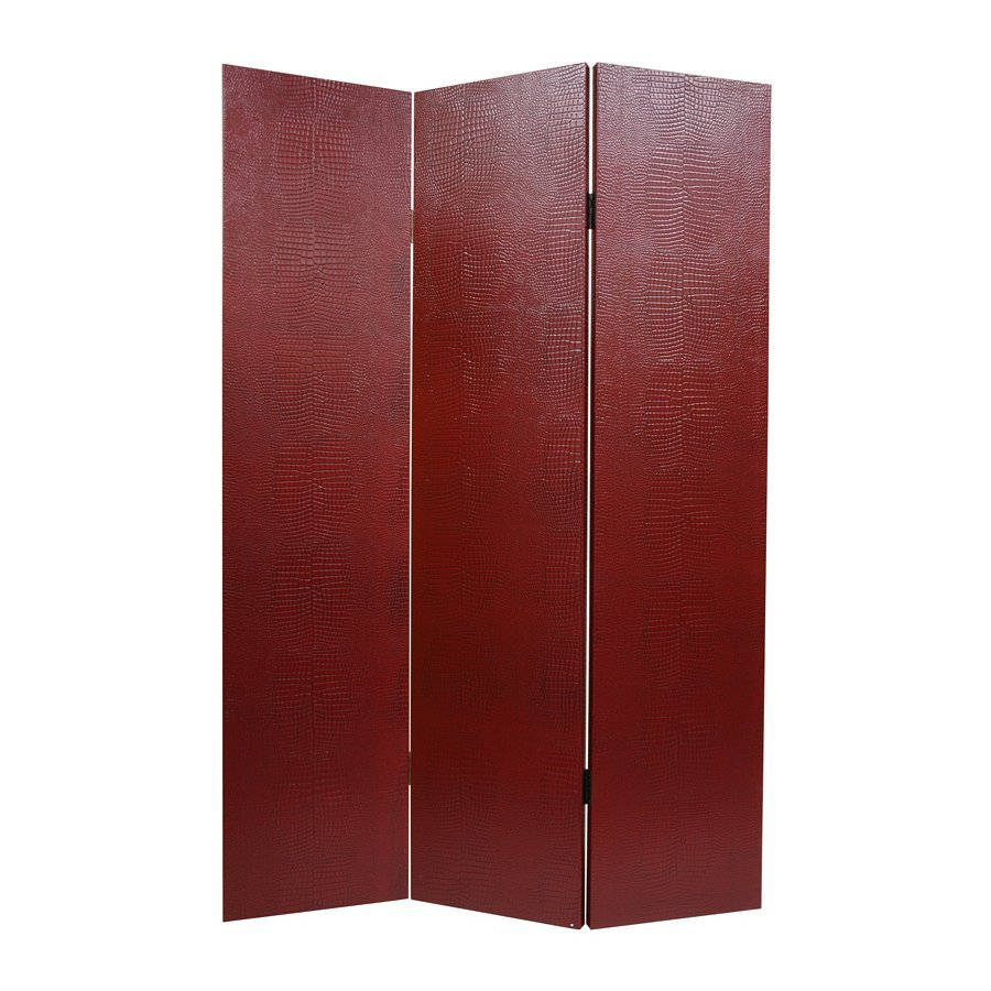 Oriental Furniture Crocodile 3-Panel Black Wood and Fabric Folding Indoor Privacy Screen