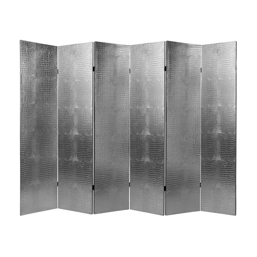 Oriental Furniture Crocodile 6-Panel Silver Wood and Faux Leather Folding Indoor Privacy Screen