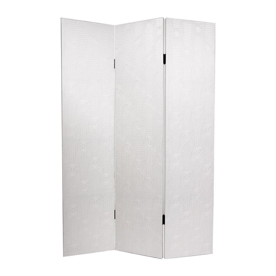 Oriental Furniture Snakeskin 3-Panel Antique White Wood and Fabric Folding Indoor Privacy Screen