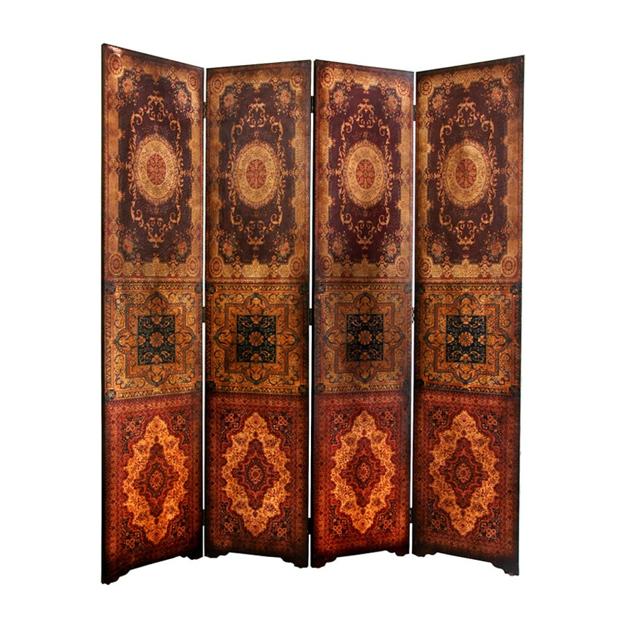 Oriental Furniture Olde-Worlde 4-Panel Brown Wood and Faux Leather Folding Indoor Privacy Screen