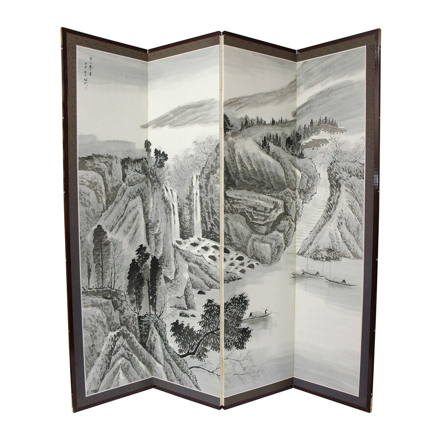 Oriental Furniture Misty Mountain 4-Panel Grey Wood and Paper Folding Indoor Privacy Screen