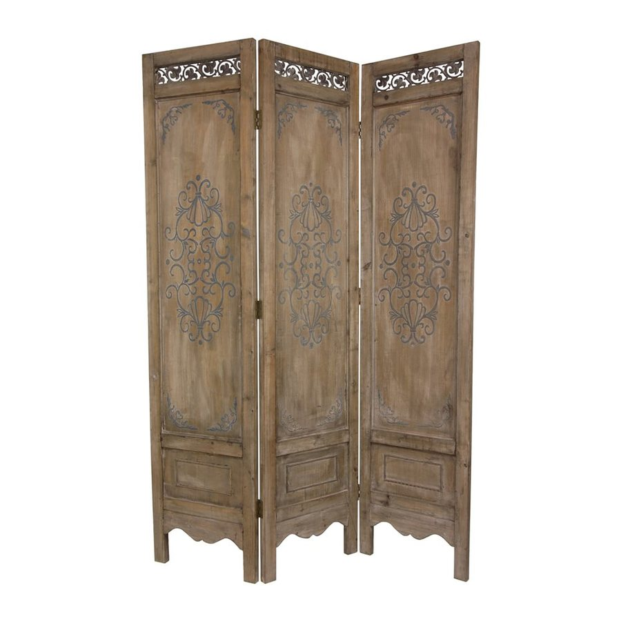 Oriental Furniture Scrollwork 3-Panel Distressed Wood Wood Folding Indoor Privacy Screen