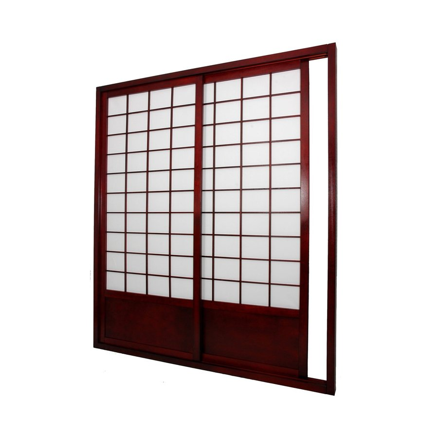 Oriental Furniture 2-Panel Rosewood Wood and Paper Indoor Privacy Screen