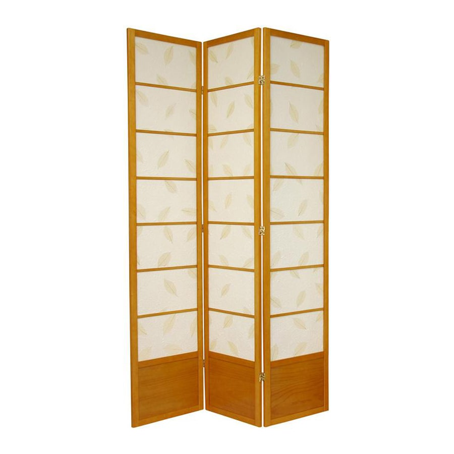 Oriental Furniture Botanic 3-Panel Honey Wood and Paper Folding Indoor Privacy Screen