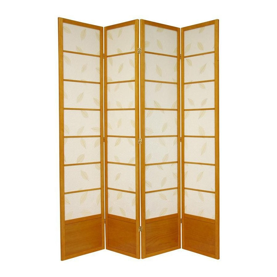 Oriental Furniture Botanic 4-Panel Honey Wood and Paper Folding Indoor Privacy Screen