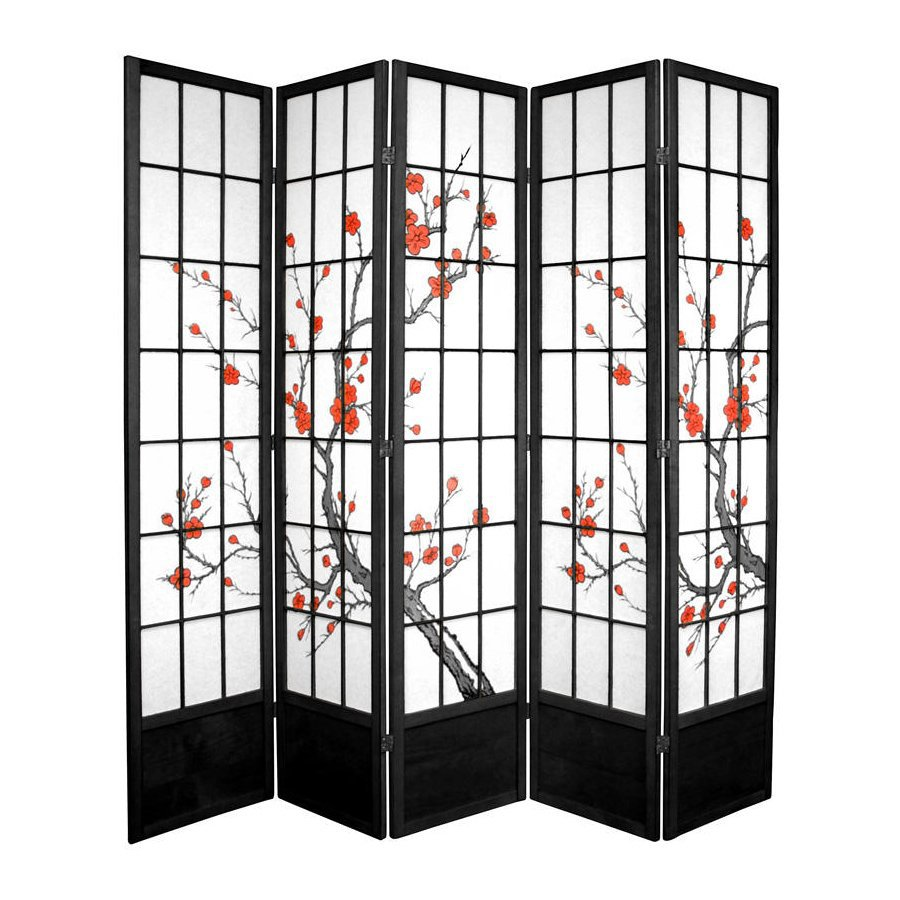 Oriental Furniture Cherry Blossom 5-Panel Black Wood and Paper Folding Indoor Privacy Screen