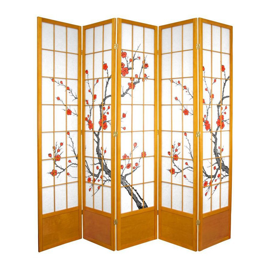 Oriental Furniture Cherry Blossom 5-Panel Honey Wood and Paper Folding Indoor Privacy Screen