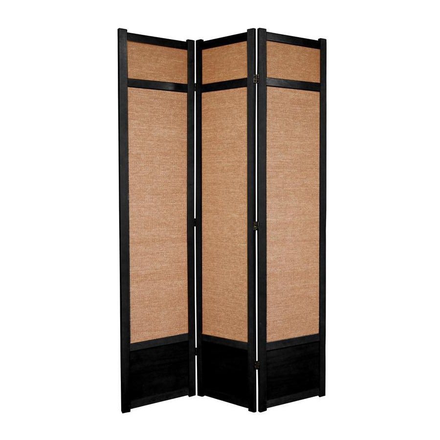 Shop oriental furniture jute 3 panel black wood and fabric for Retractable privacy screen