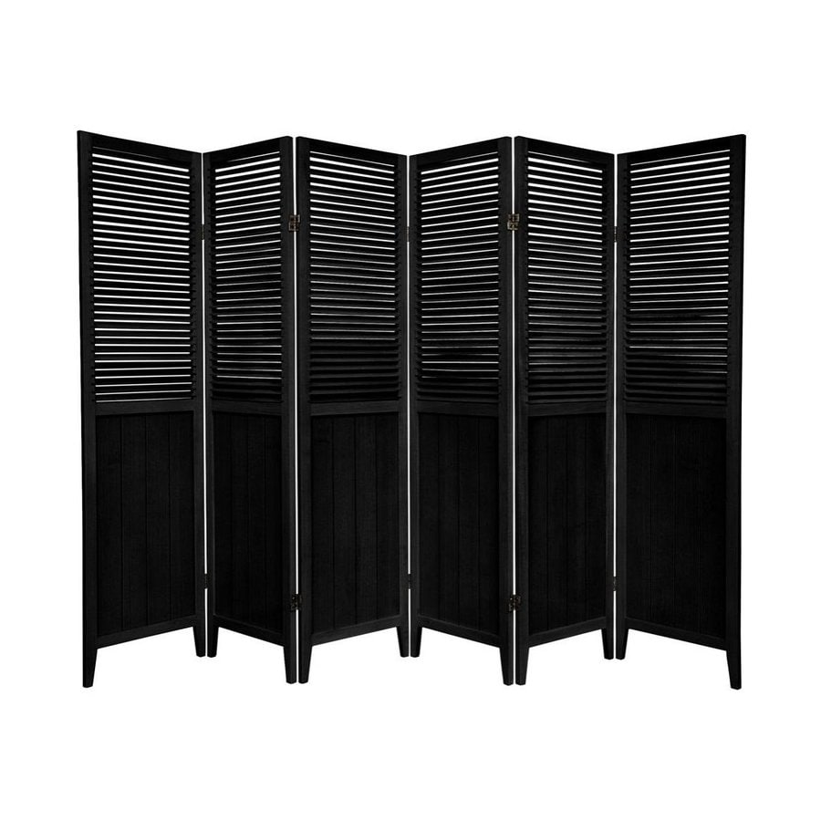 Oriental Furniture 6-Panel Black Wood Folding Indoor Privacy Screen
