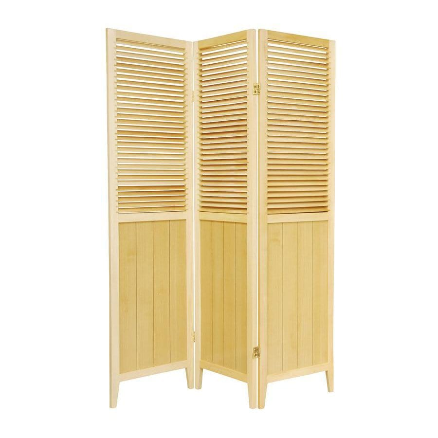 Shop oriental furniture 3 panel natural wood folding for Wood privacy screen panels