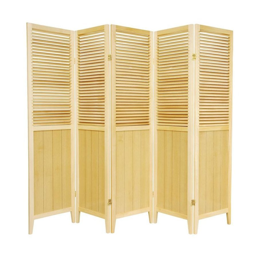 Oriental Furniture 5-Panel Natural Wood Folding Indoor Privacy Screen