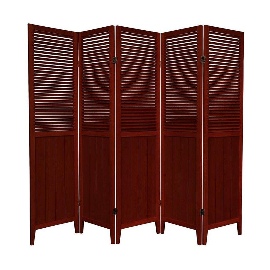 Oriental Furniture 5-Panel Rosewood Wood Folding Indoor Privacy Screen