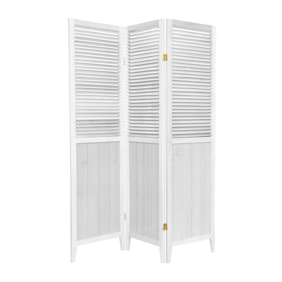 Oriental Furniture 3-Panel White Wood Folding Indoor Privacy Screen