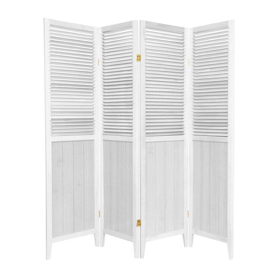 Shop Oriental Furniture 4 Panel White Wood Folding Indoor
