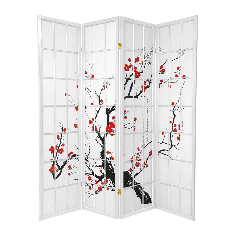 Oriental Furniture Flower Blossom 4-Panel White Wood and Paper Folding Indoor Privacy Screen